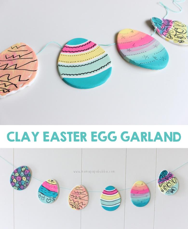 Clay Easter Egg Garland   Mama Papa Bubba