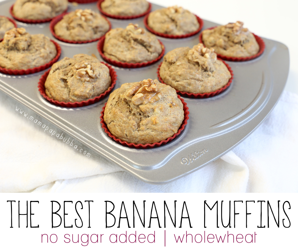 The BEST No Sugar Added Banana Muffins | Mama.Papa.Bubba.