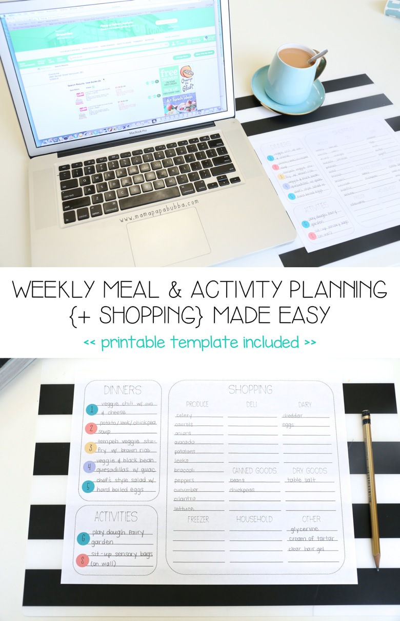 Weekly Meal Activity Planning + Shopping Made Easy | Mama Papa Bubba