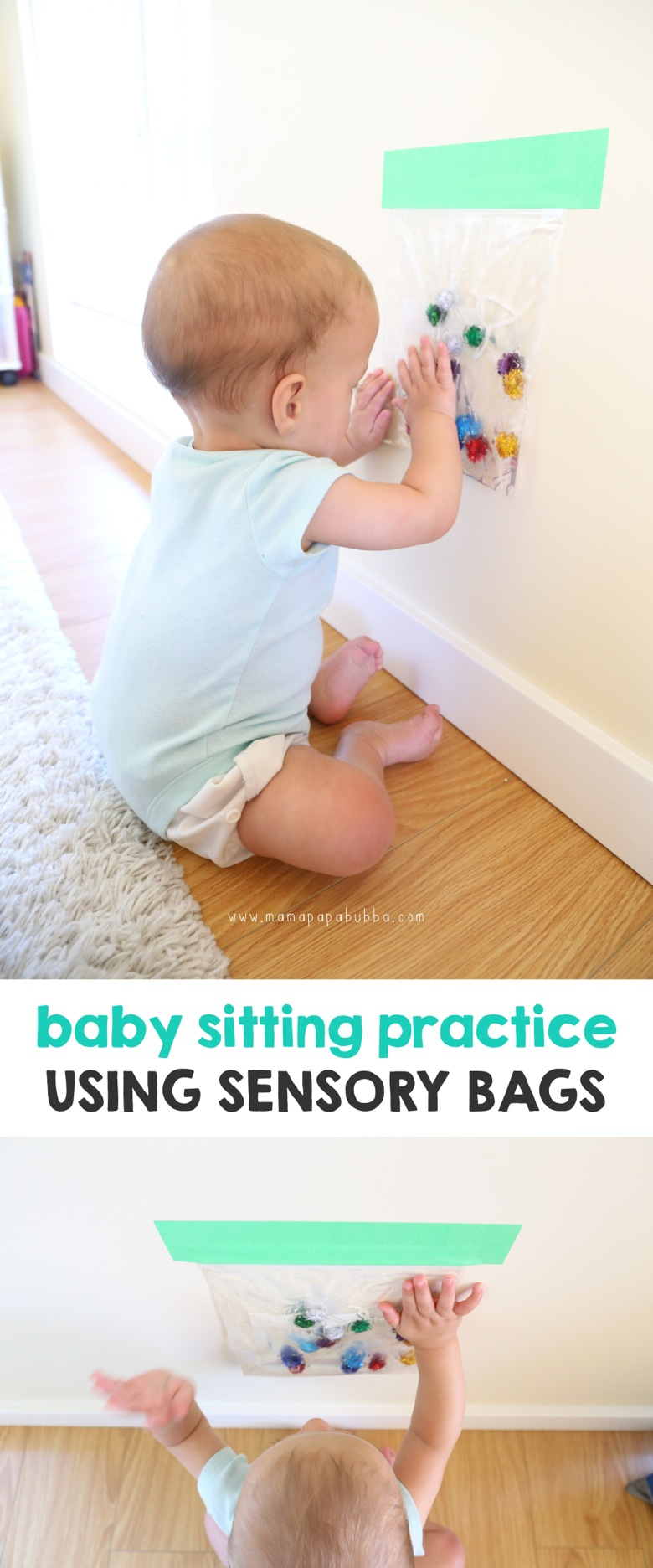 Baby Sitting Practice Using Sensory Bags | Mama Papa Bubba