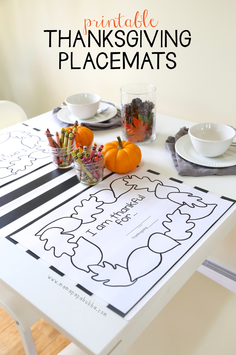 Printable Thanksgiving Placemats | Mama Papa Bubba