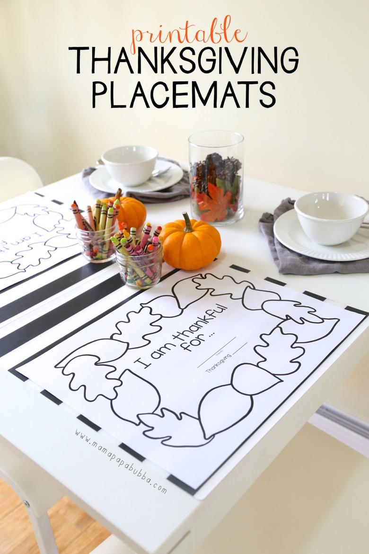 Printable Thanksgiving Placemats | Mama Papa Bubba