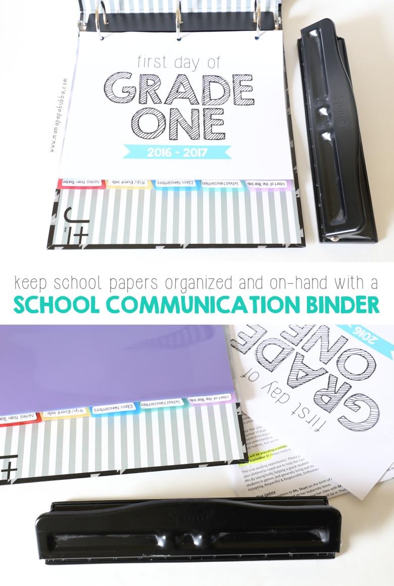 School Communication Binder | Mama Papa Bubba