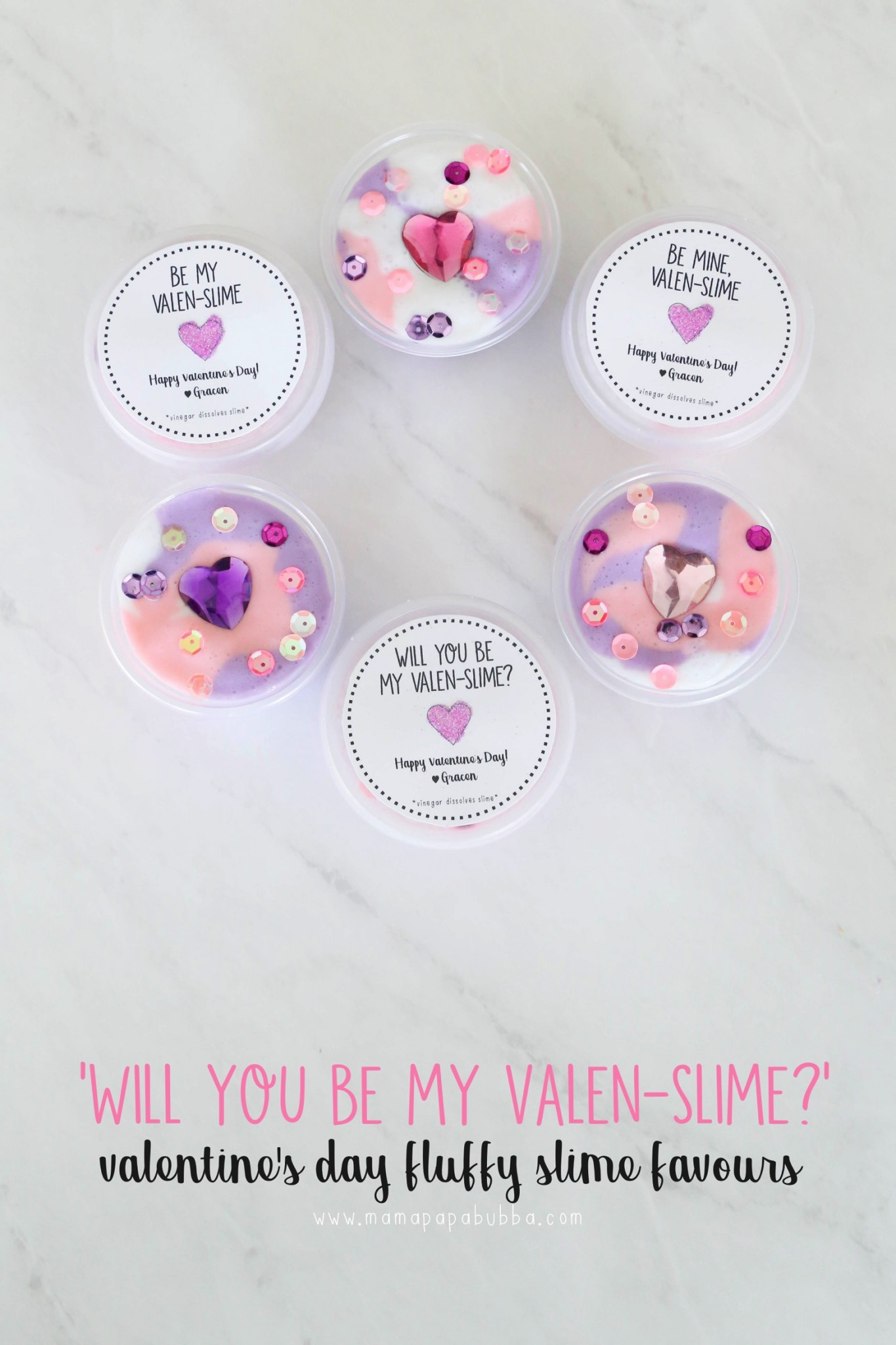 Valentine s Day Fluffy Slime Favours | Mama Papa Bubba