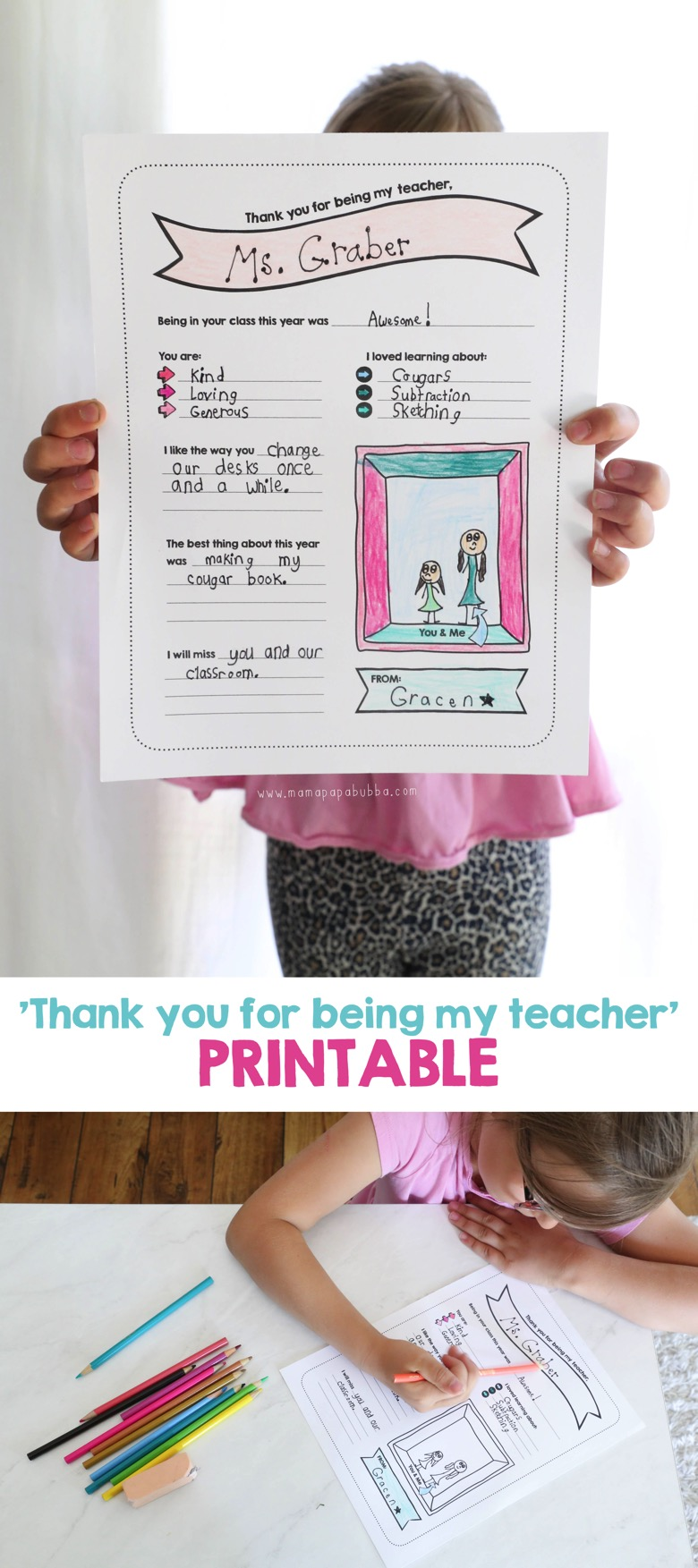 Thank You For Being My Teacher Printable Gift | Mama Papa Bubba