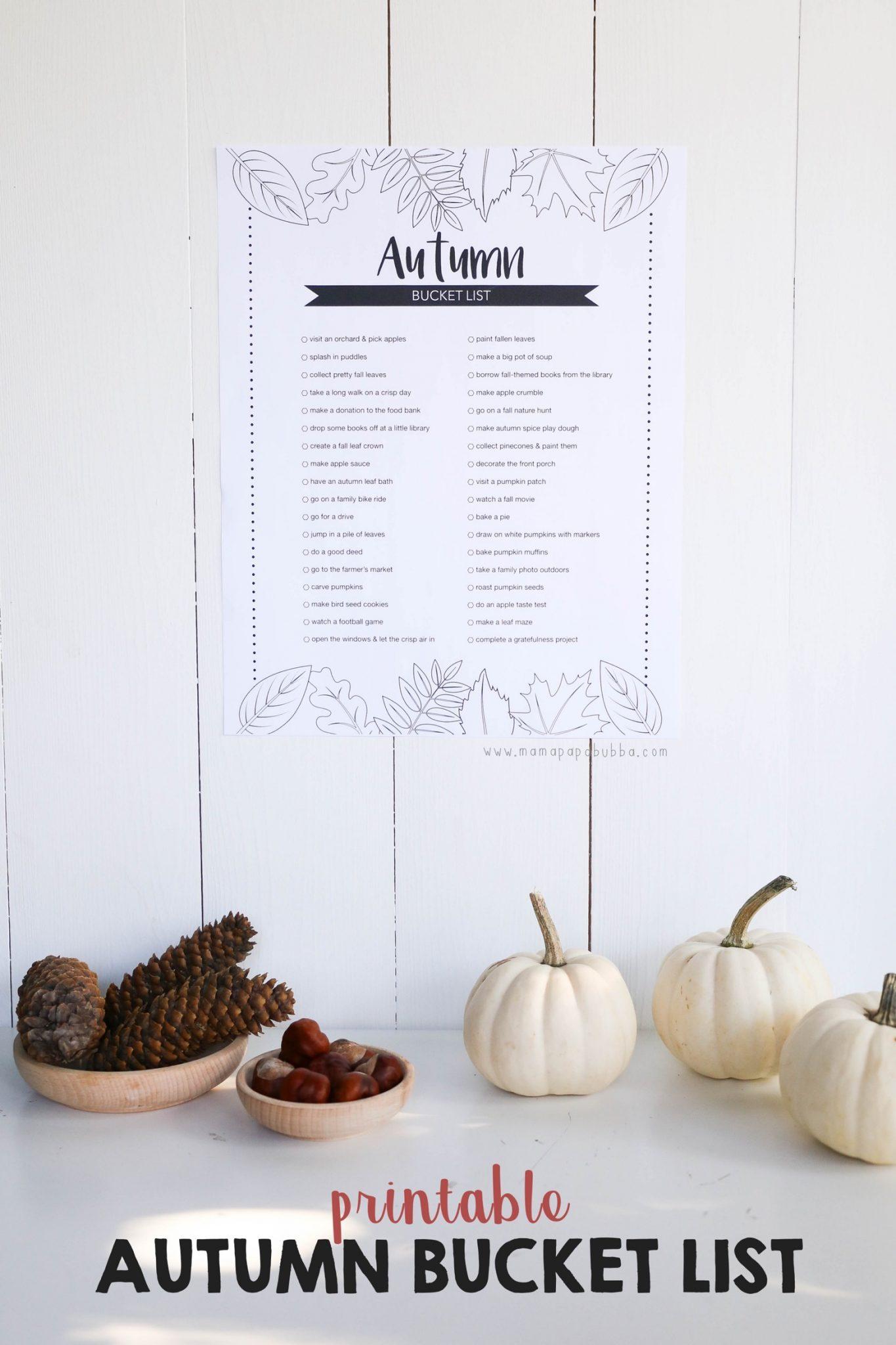 Printable Autumn Bucket List | Mama Papa Bubba