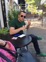 Just enjoying some ice cream...yes those are green sneakers.