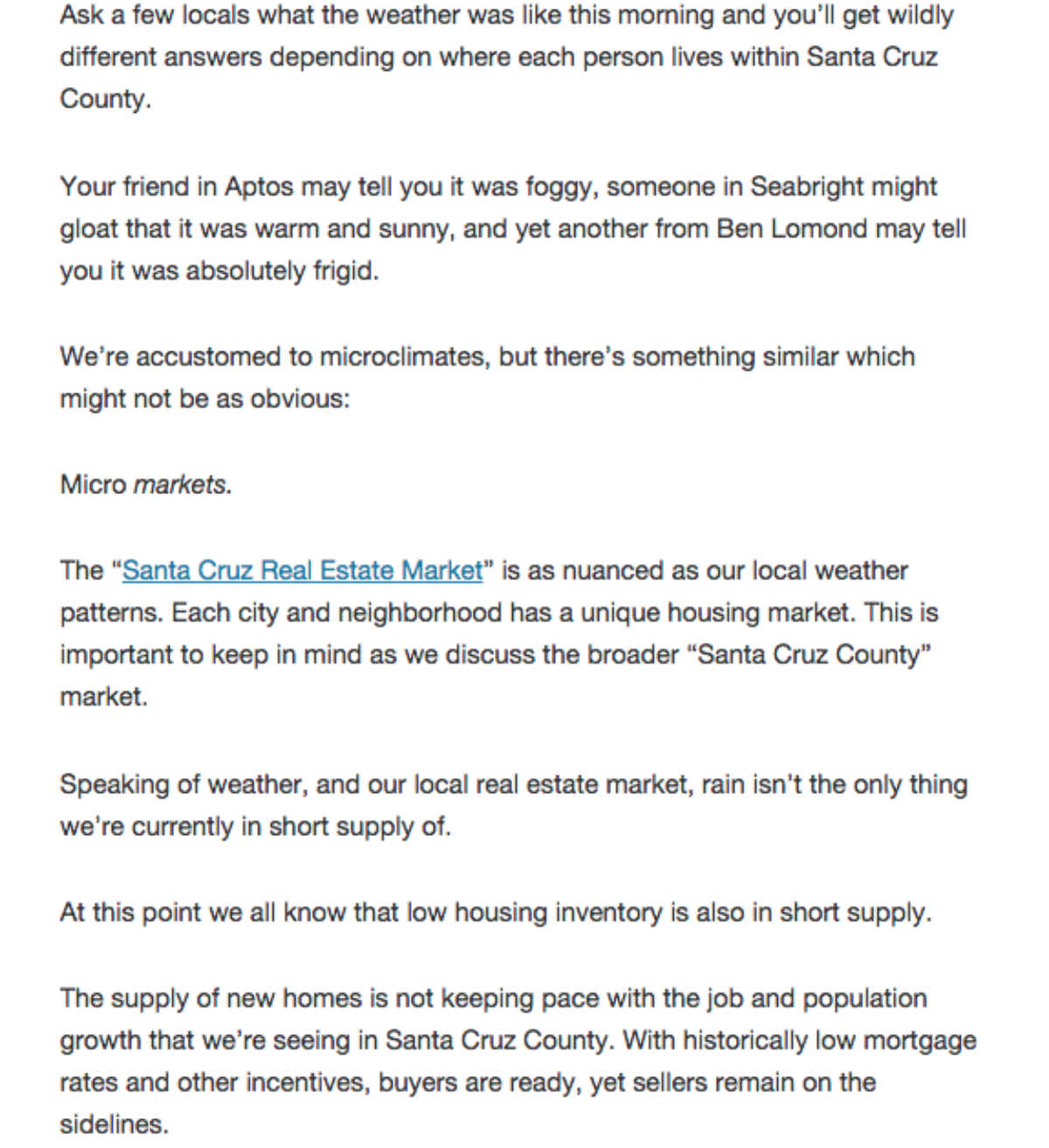 April 2015 Market Report published in Santa Cruz Life.