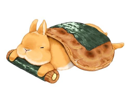 可爱小动物插画,其中一项作品是他将 兔子乱入到各式各样的甜点饮料中