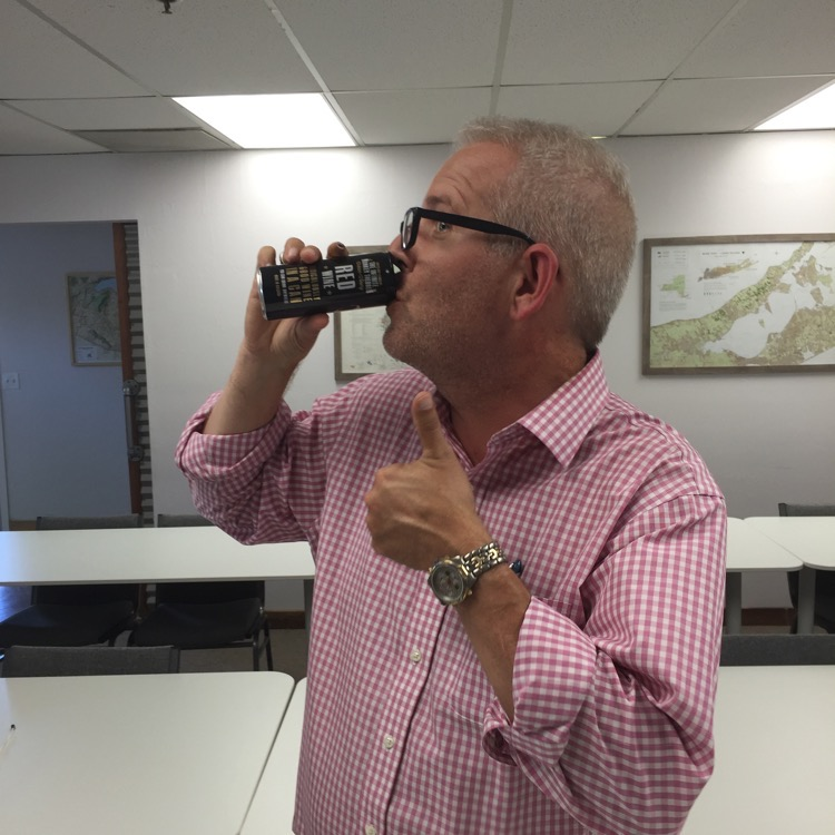 The Napa Valley Wine Academy's fearless leader and chief education officer, Christian Oggenfuss, trying, for the first time, wine in a can. Wine in the can: Infinite Monkey Theorem.
