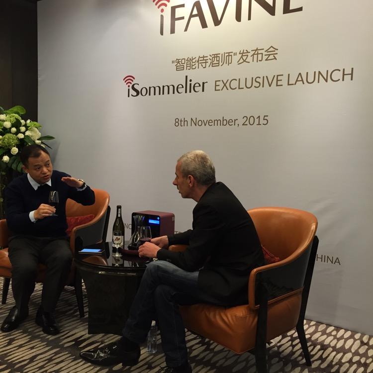 "That's Eric Li (left), the founder an inventor of the iFavine ""iSommelier"" rapid decanter. This photo is from their launch event in China in early November, and that's Cuno van't Hoff, European journalist."