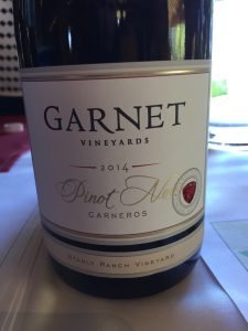 First Garnet-produced single vineyard Pinot from the ranch. One True Vine and Mondavi and Saintsbury have produced Pinot from Stanly Ranch, which is right at corner of 121 and 29 right behind Starmont. Dried cherry and strawberry and rhubarb. Very plush and richly flavored.