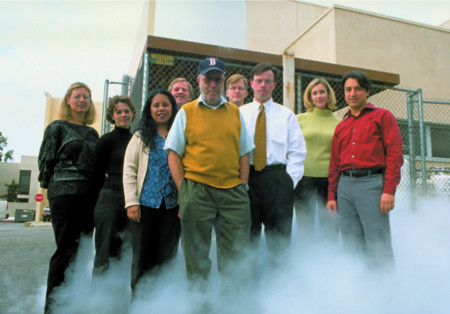 Photo: Larry Gilbert (center, with the cap) with members of the Caltech Office of Technology Transfer in 2002
