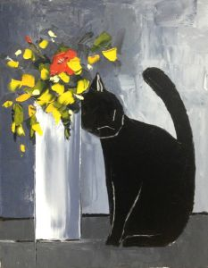 Black cat and his flowers - 20