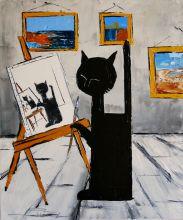 Black cat is painting - 20