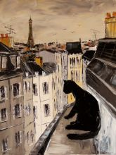 Black cat on roofs of Paris - 36