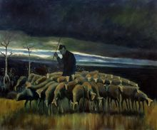Shepherd with a flock of Sheep - 24