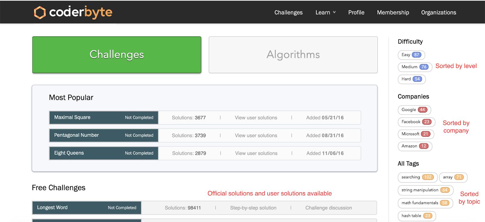 Photo of Coderbyte platform