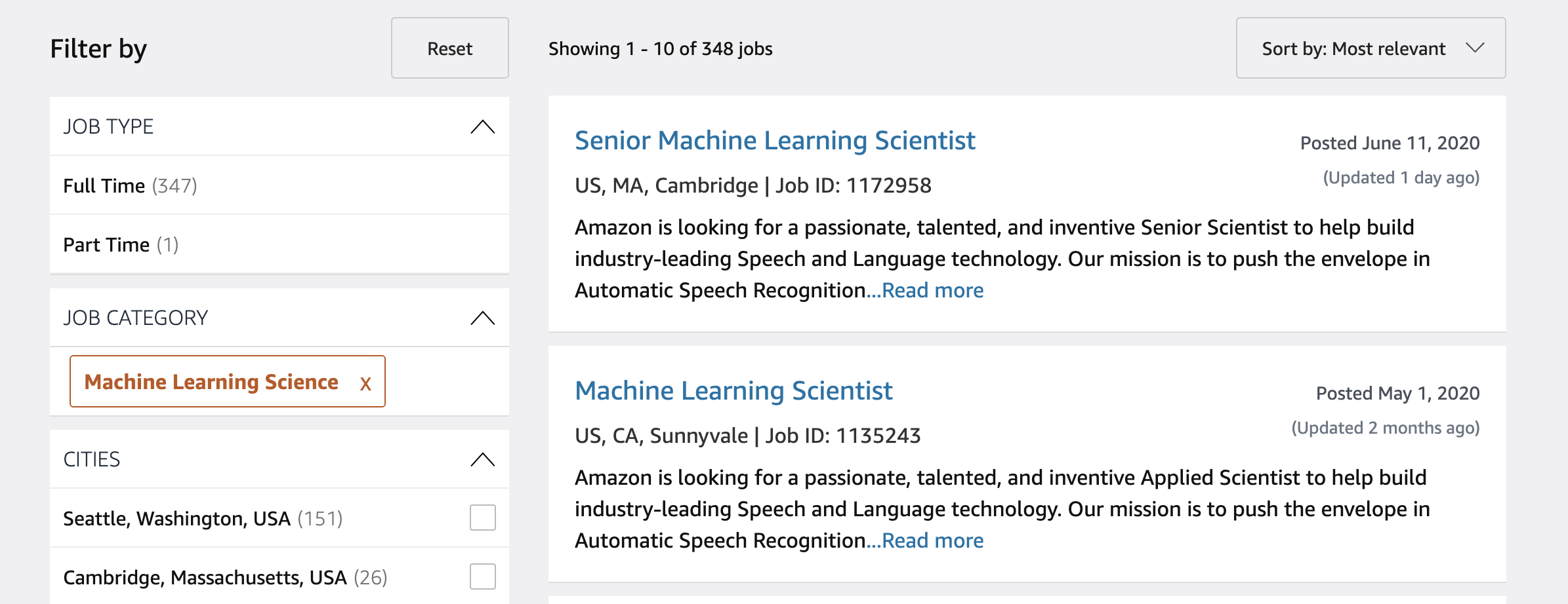 Photo of machine learning jobs at Amazon