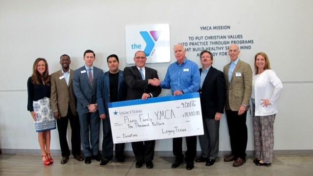 legacytexas donates to Plano YMCA