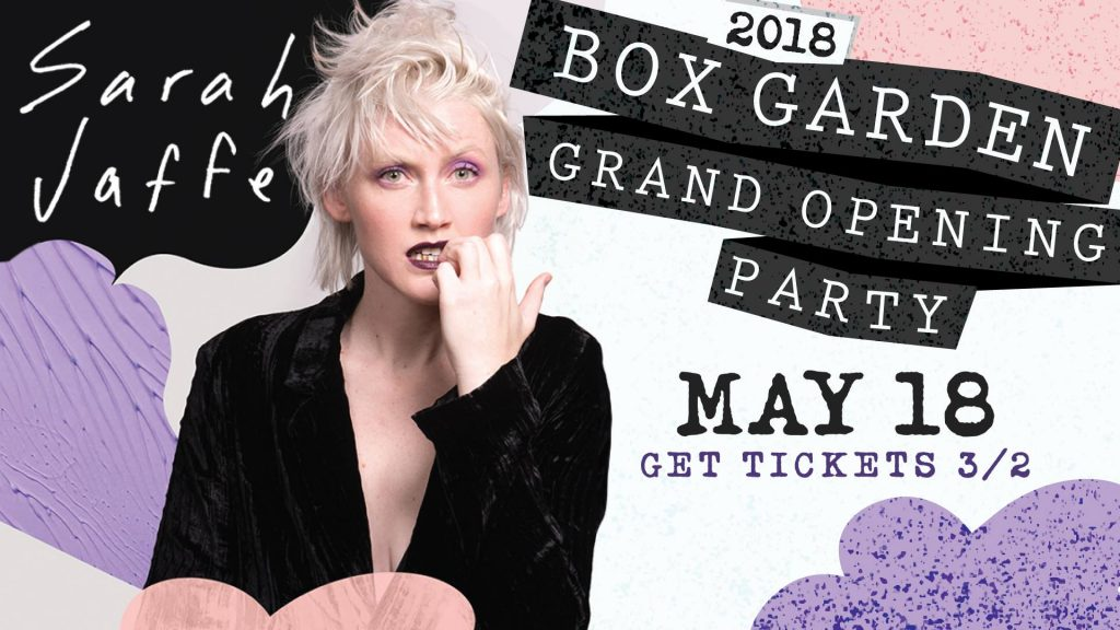 Sarah Jaffe at The Box Garden, Legacy Hall, Legacy West, Plano