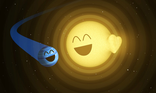 iillustration of a blue planet near a yellow sun