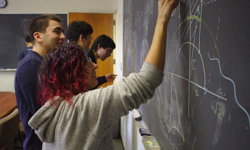 Student at blackboard