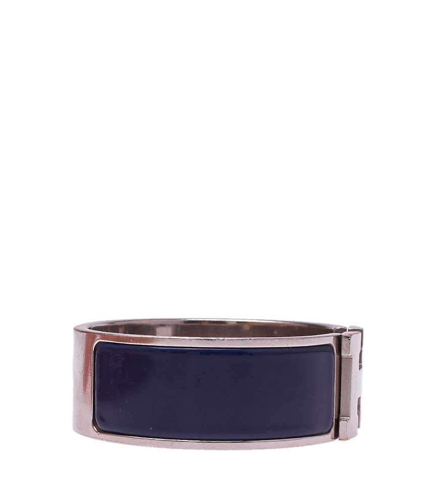 Hermes clic clac h blue enamel silver tone bracelet size p ebay - Dimensions clic clac ...