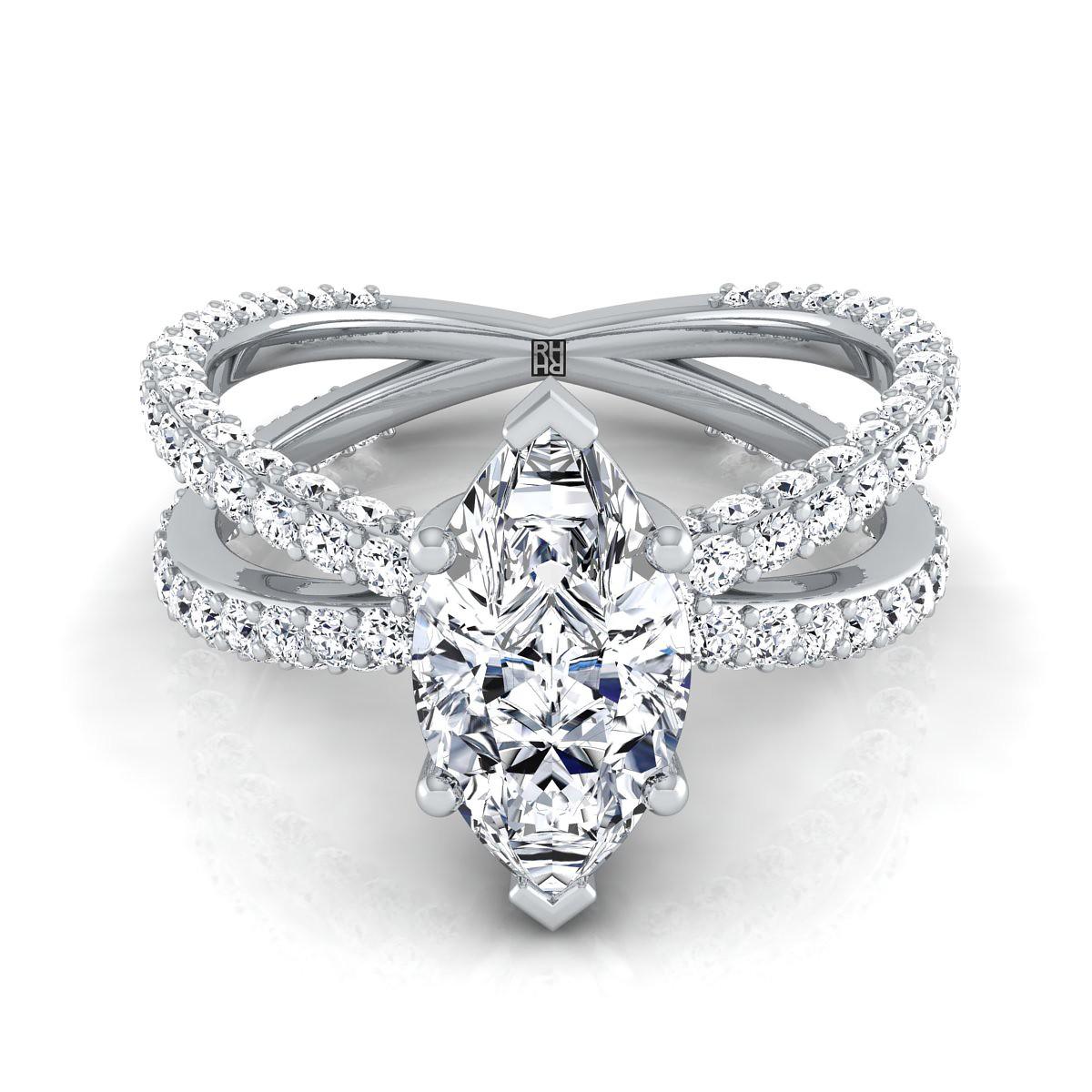 Milgrain Marquise and Dot Diamond Ring in 14k   Blue Nile