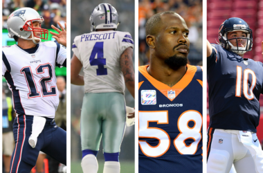 NFL Jersey Sales: Philadelphia Eagles' Carson Wentz, New England Patriots' Tom Brady, Dallas Cowboys' Dak Prescott, Denver Broncos' Von Miller, Chicago Bears' Mitch Trubisky