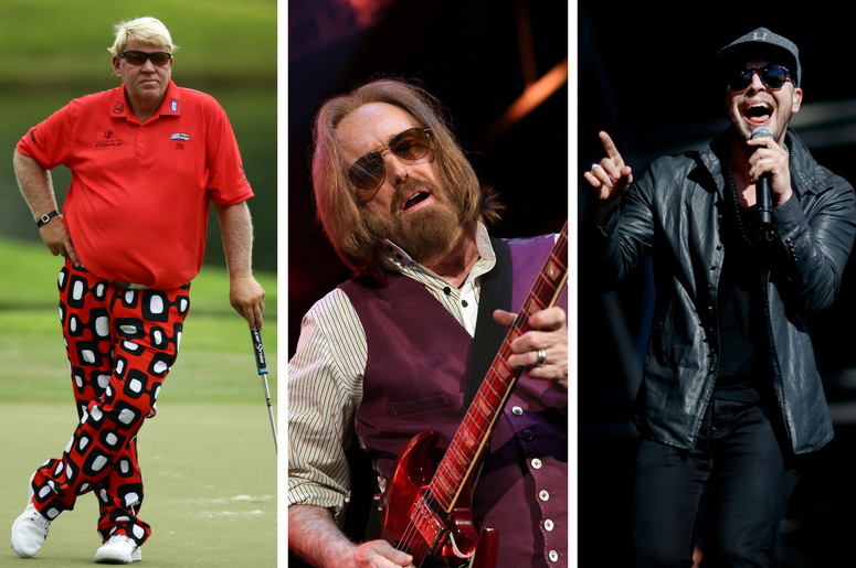 John Daly on the 14th green during the second round of the 2017 PGA Championship at Quail Hollow Club/Tom Petty performs at Perfect Vodka Amphitheatre/Gavin DeGraw performs before Super Bowl XLIX