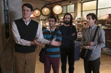 Martin Starr, Zach Woods, Thomas Middleditch, and Kumail Nanjiani in 'Silicon Valley'