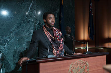 "Chadwick Boseman and Florence Kasumba in ""Black Panther"""