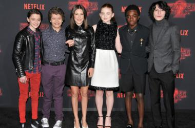 """Stranger Things 2"" Cast - Noah Schnapps, Gaten Matarazzo, Millie Bobby Brown, Sadie Sing, Caleb McLaughlin and Winn Wolfard arrives at Netflix's ""Stranger Things 2"" Premiere held at Westwood Village Theater in Westwood, CA on Thursday, October 26, 2017."