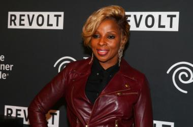 Mary J. Blige arrives at the Revolt Party at the Time Warner Cable Studios.