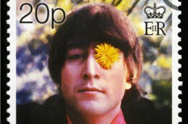 GIBRALTAR - CIRCA 1999: Postage stamp from Gibraltar portraying an image of John Lennon, circa 1999.