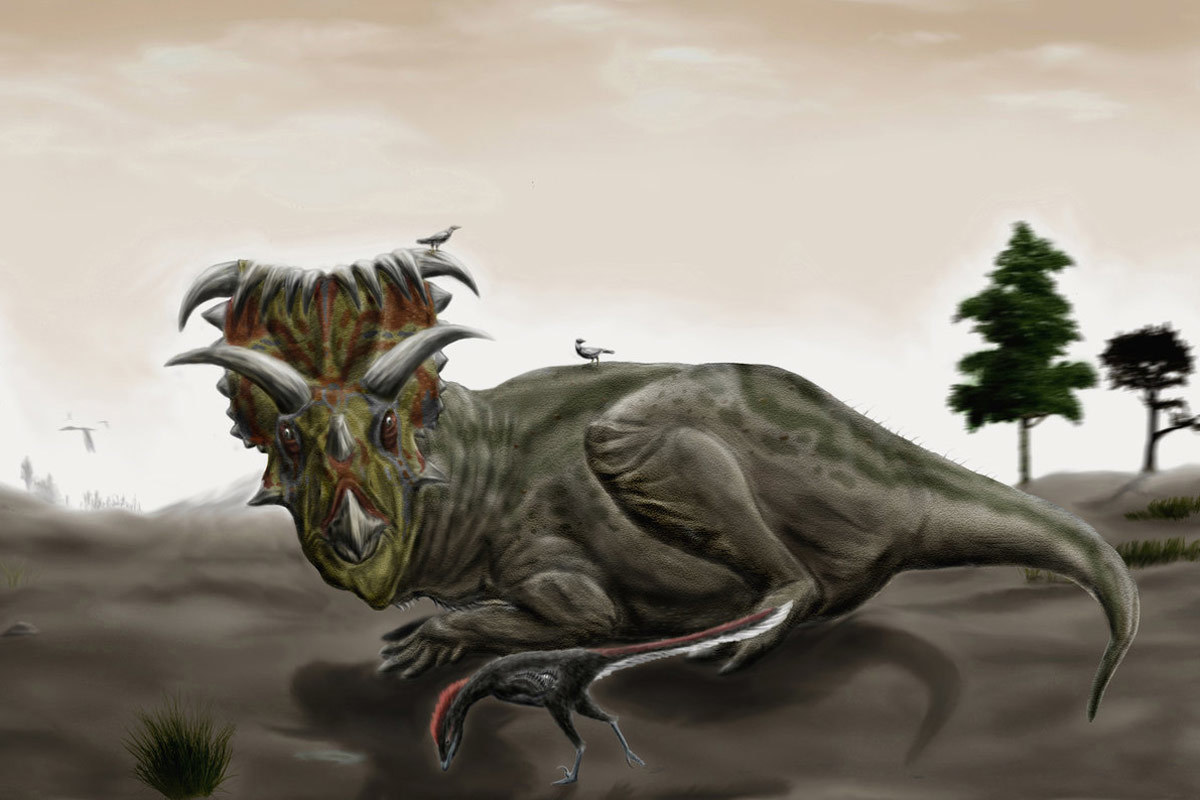 A Kosmoceratops disturbed from its rest by a wandering Talos