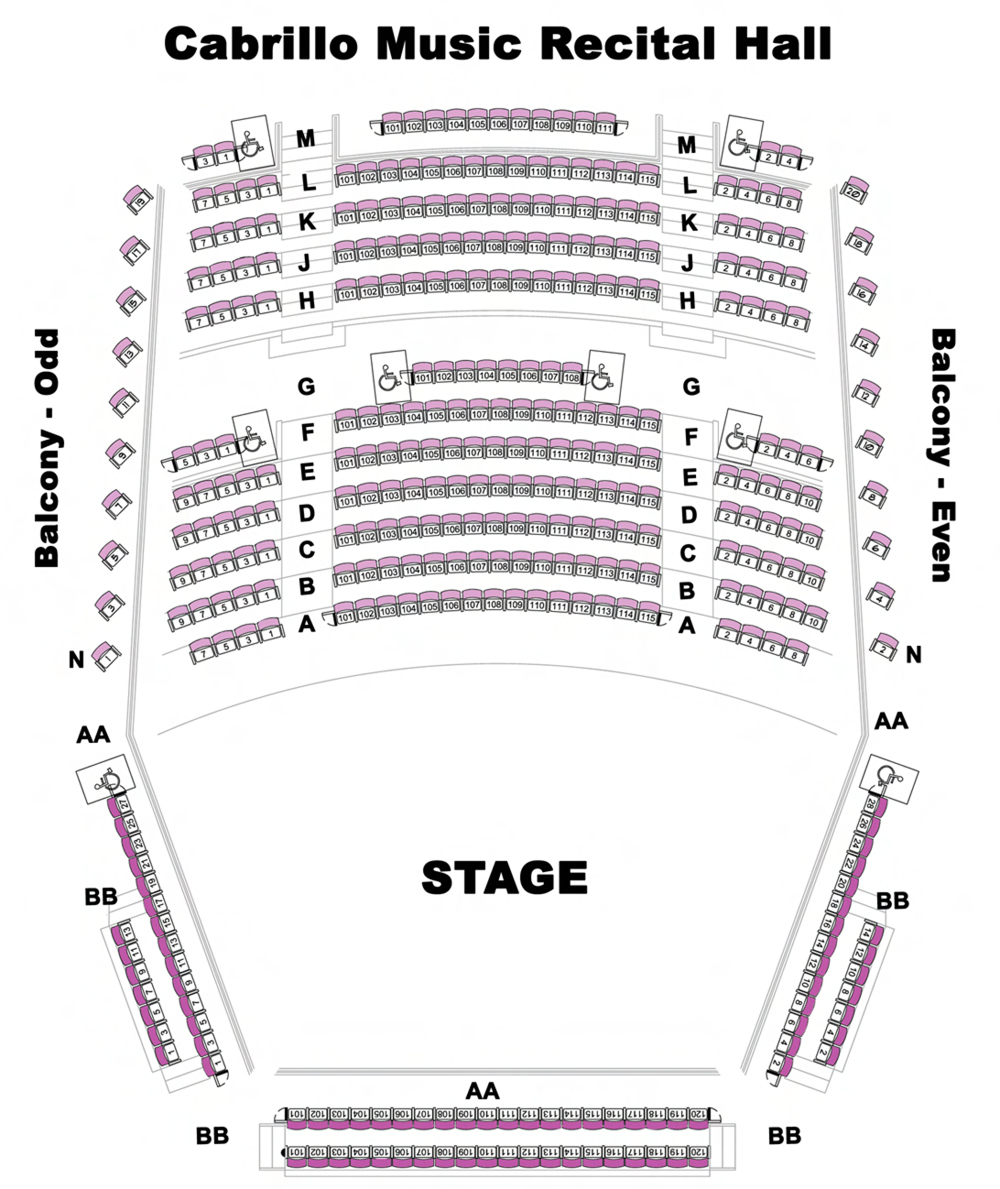 Cabrillo College Samper Recital Hall Seating Map