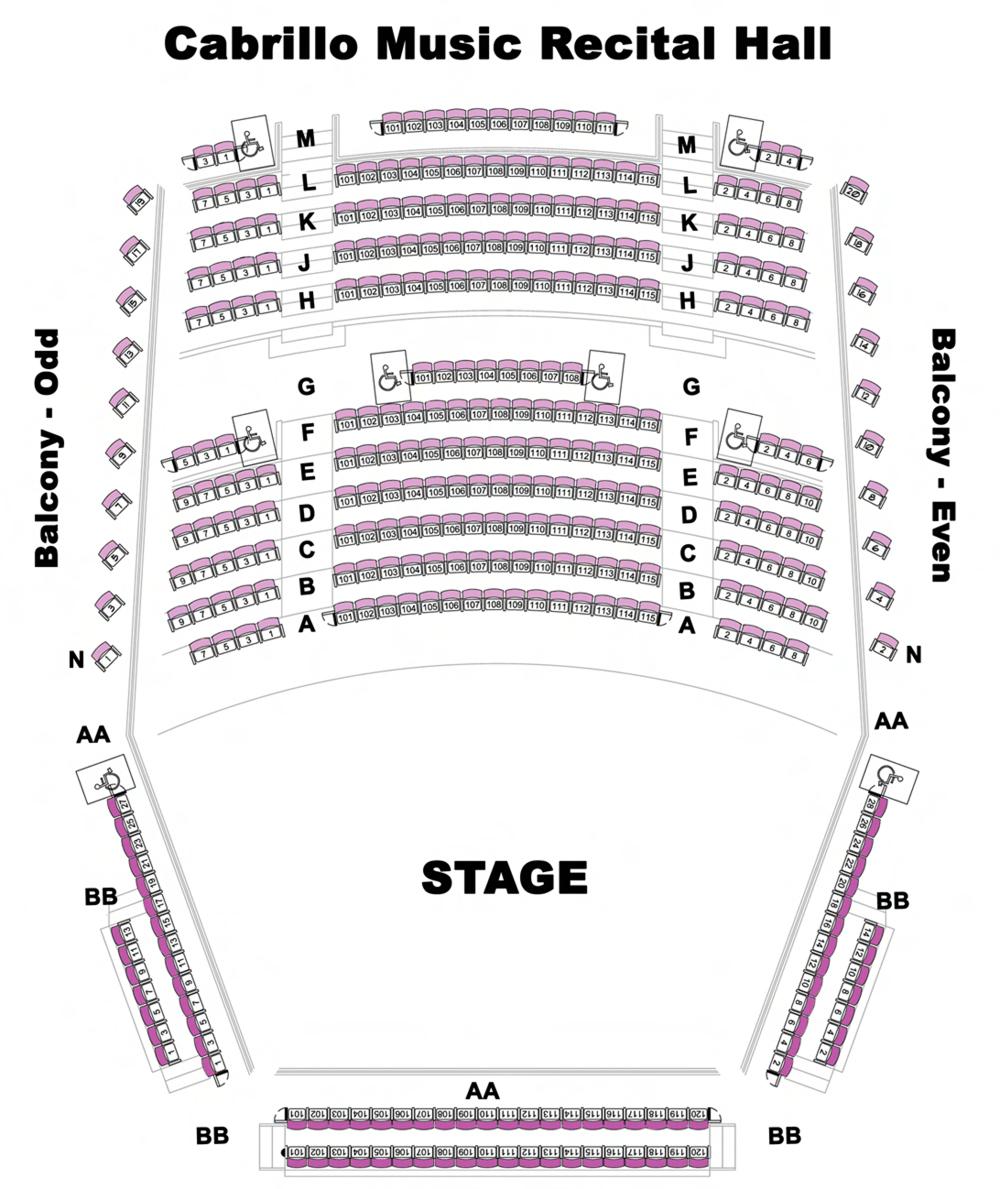 Cabrillo College Samper Recital Hall Seating Map
