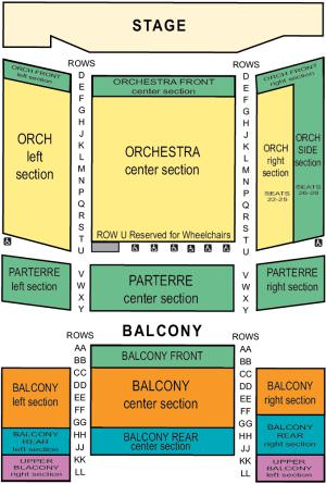 Mello Center for the Performing Arts Seating Map