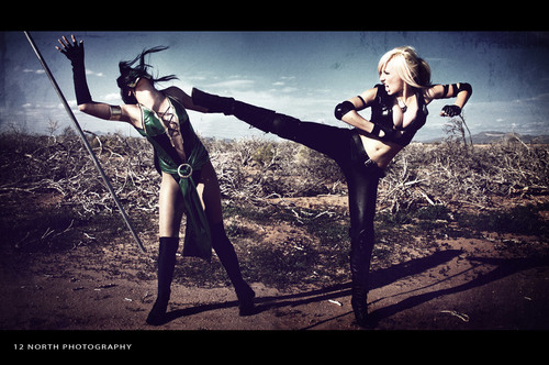 Sexy cosplay fight photoshoot
