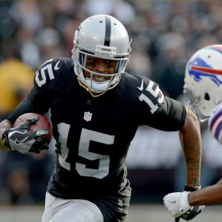 Raiders wide receiver Michael Crabtree runs after a catch in the first half of Oakland's 38-24 win over the Buffalo Bills Sunday afternoon.