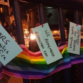 Notes of mourning and rememberance were placed at a candlelight vigil for victims of the Oakland warehouse fire Monday in San Francisco's Castro district.