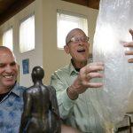 Goldman and partner Michael Koehn enjoy a Volcano vaporizer --- a desktop unit that fills a bag with cannabis vapor. Vaporizers cut out the carcinogens associated with smoking cannabis. PHOTO: Michael Short for San Francisco Chronicle
