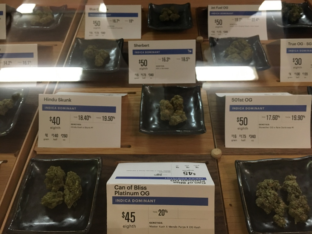 Adult use cannabis on display at Harborside in Oakland Monday