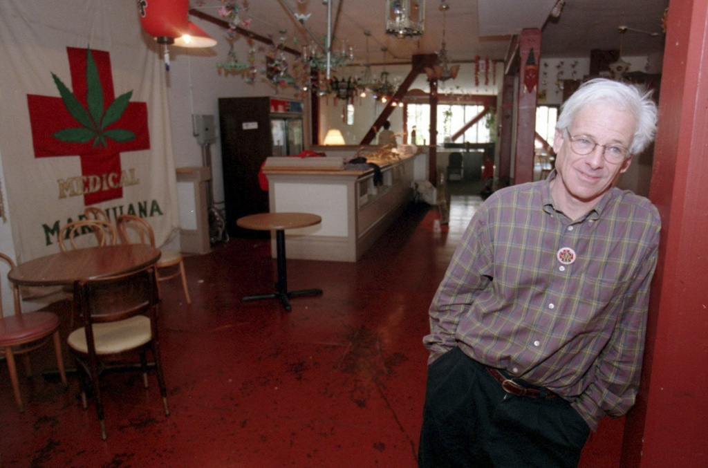 """Dennis Peron at the San Francisco Cannabis Cultivators' Club, Jan. 10, 1997. Peron, who openly dealt pot from his """"supermarket"""" on Castro Street in San Francisco during the 1970s before leading a successful campaign to legalize medical marijuana in California two decades later, died Jan. 27, 2018, at a hospital in the city. He was 71. (Jim Wilson/The New York Times)"""