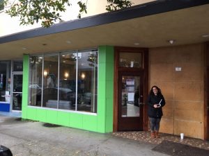 Laura Montagna waits to be first to buy legal weed in Humboldt. | Photo by Bill Disbrow