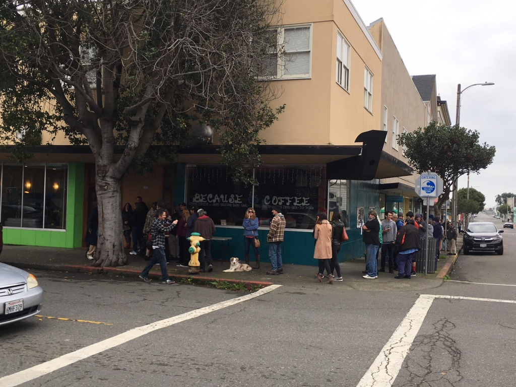 A line of 35 people suddenly formed outside of ECO cannabis shop in Eureka, Calif., on the first day of legal recreational marijuana sales. | Photo by Bill Disbrow