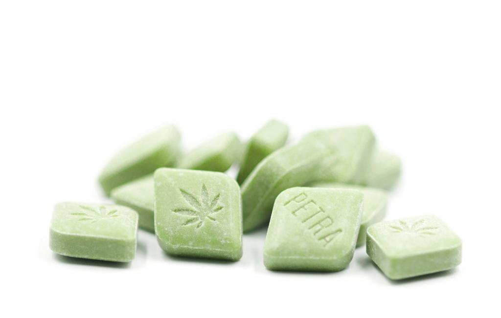Cannabis mints include the matcha flavored Kiva Petra