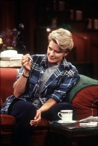 Bergen as Murphy Brown, trying medical cannabis for nausea from breast cancer treatment.